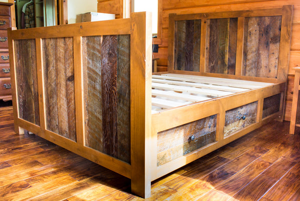 4 Drawer Rustic Reclaimed-Barn Wood Platform Bed