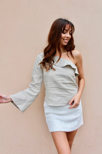 mimi one shoulder linen *natural*