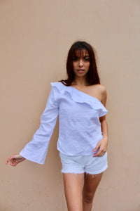 mimi one shoulder linen *white*