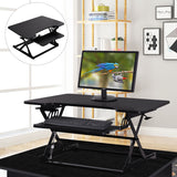 NEW & FREE SHIPPING! Ergonomic Height Adjustable Standing Desk - Sit Stand Desk - Keyboard Tray - Desk Top Desk Riser