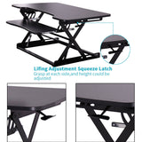 FREE SHIPPING! Ergonomic Height Adjustable Standing Desk - Sit Stand Desk - Keyboard Tray - Desk Top Desk Riser