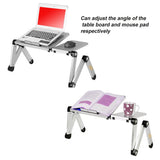 Larger Portable Adjustable Laptop Desk/Stand-Vented-Lightweight {4 Lb} Ergonomic Bed Lap Tray with Cooling Fans