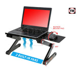 Desk York Portable Laptop Stand - Best Gift for Friend-Men-Women-Student - Recliner/Bed Lap Tray - Aluminum Light Table for Computer - 2 Built in Cooling Fans - Mouse Pad and USB Cord-Black