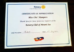 Rotary Club of Mount Isa Certificate of Appreciation to Bliss Chic' Hampers July 2016