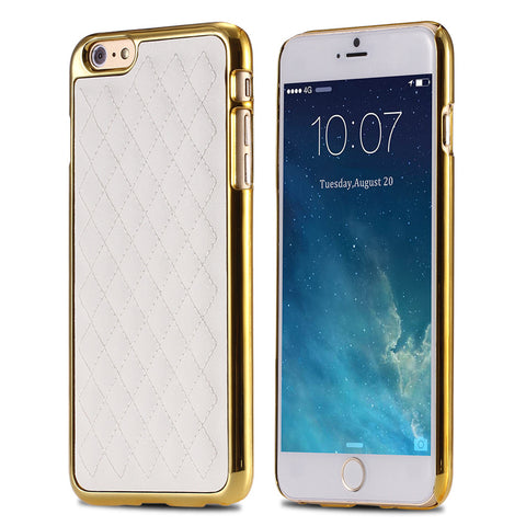 Gold Grid Leather iPhone Case