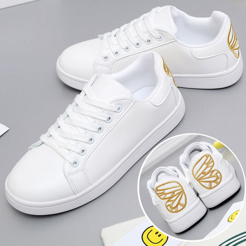 Butterfly Embroidered White Shoes