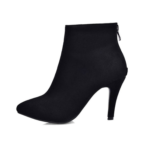 Pointed Toe Zipper Suede Boots