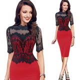 Retro Floral Sexy Red Lace Dress