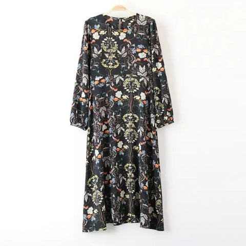 Round Neck Puff Sleeve Dress