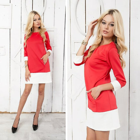 3/4 Sleeve Mini Patchwork Dress