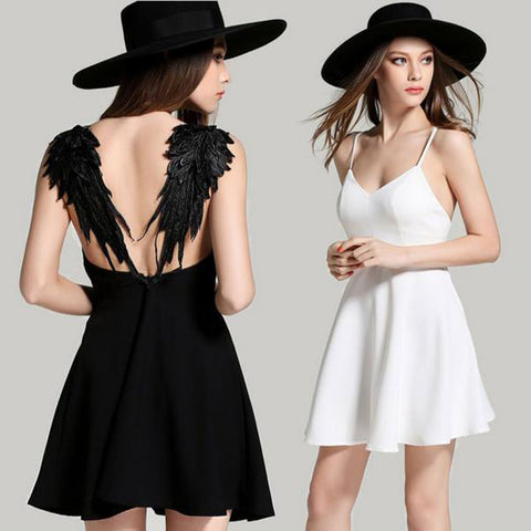 Angel Wings Lace Mini Dress