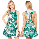 Split Back Green Summer Dress