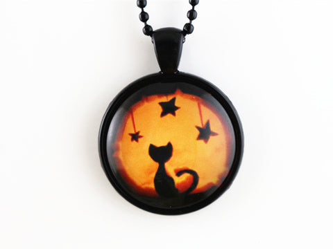 Glass Cat Black Necklace