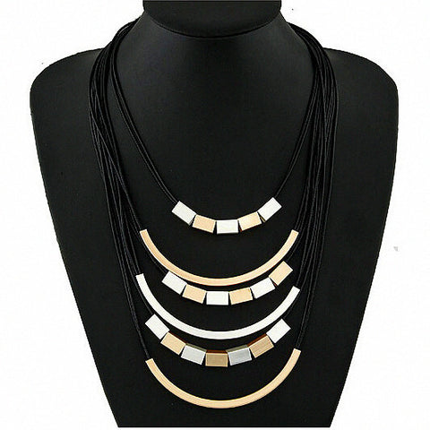 Punk Geometric Layered Necklaces