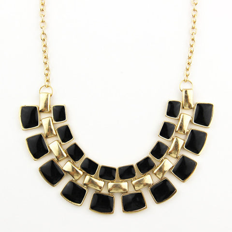 Plated Enamel Link Chain Necklace