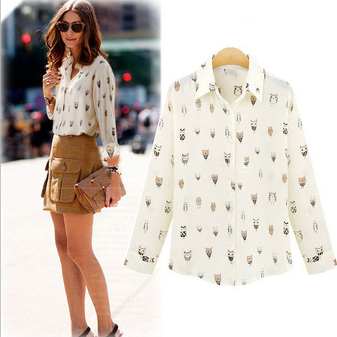 Animal Owl Print Shirt