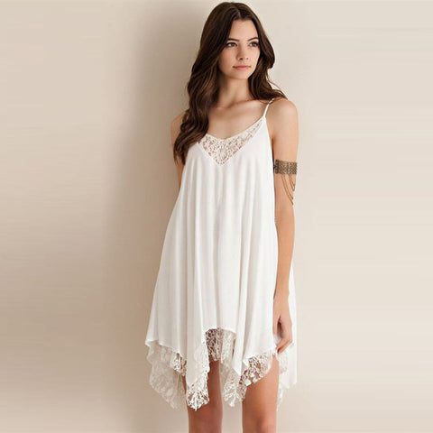 Appliques White Loose Dress