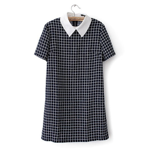 Casual Plaid Collar Dress