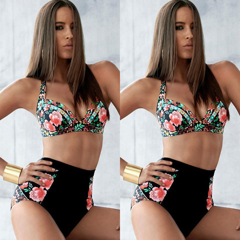 Sexy Floral High Waist Bathing Suit