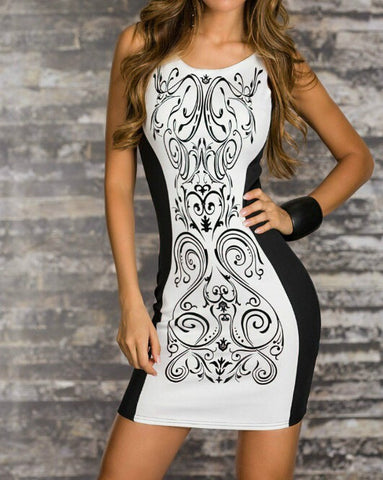 Retro Printed Black White Patchwork Dress
