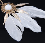 Vintage Long Feather Necklace for Women