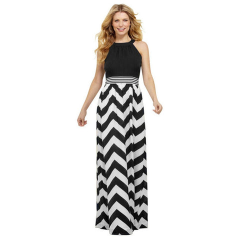 Women Striped Long Maxi Dress