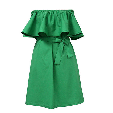 Women Off-Shoulder Loose Belt Dress