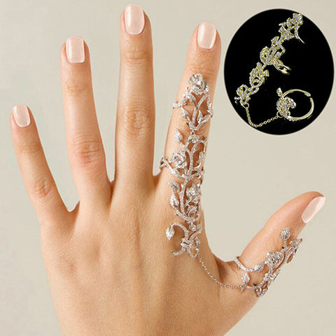 Women Multiple Rose Crystal Stack Knuckle Rings