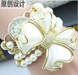 Women's Flowers Double Pearl Bracelet Watch Wrist Luxury