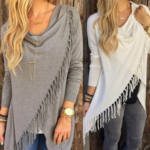 Women's Long Sleeve Slim Tassel Slash Knitted Clothing