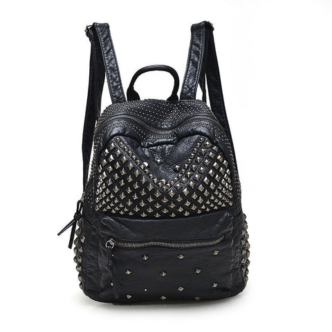 Waterproof PU Leather Rivet Backpack