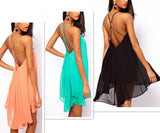 Women's Summer Robe Sexy Backless Sling Strap Back Chiffon Beach Dress