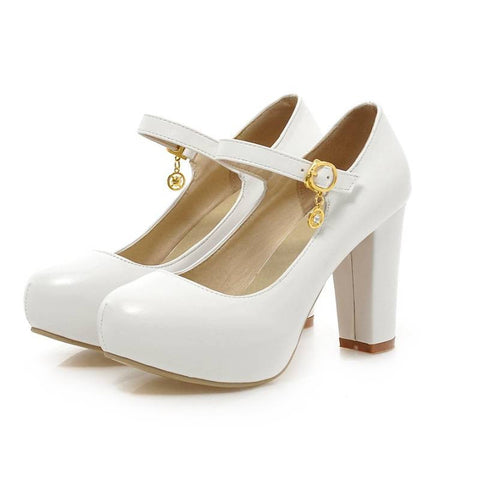 Buckle Round Toe Thick Heels