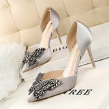 Shiny Rhinestones Pointed Wedding Shoes