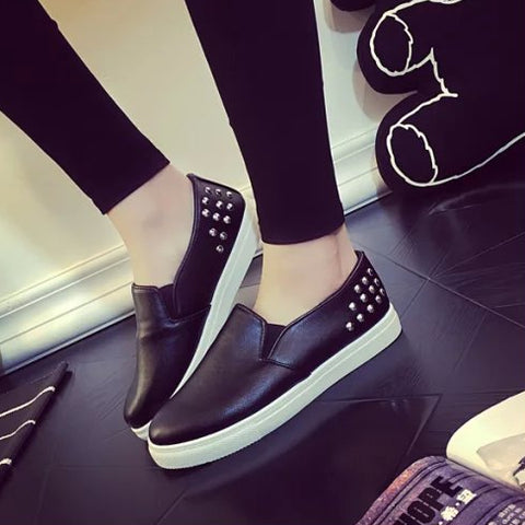 Back Studded Black Loafers