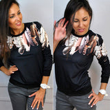 Tracksuit Feather Casual Crewneck Top