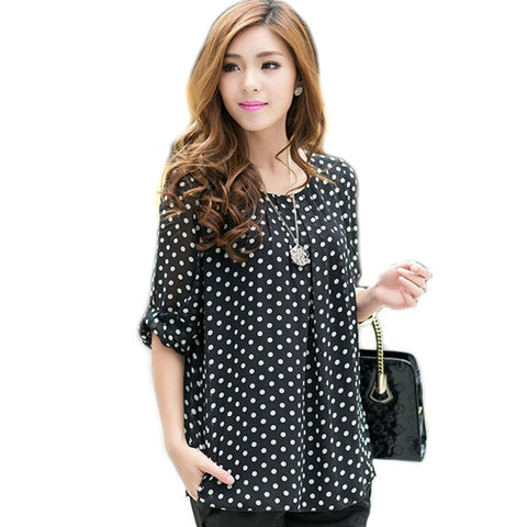 Women's Dotted Chiffon Long Sleeve Loose Top