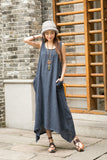 Women's  Cotton Linen Summer Sleeveless Dress