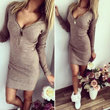 Women's Fashion Sexy Slim Bodycon Patchwork Mini Casual Slash Neck Half Sleeve Dress