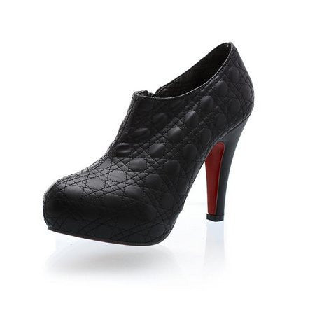Round Toe Zipper Closure Platform Pumps