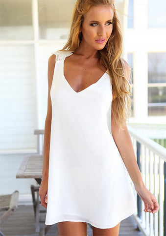 Backless White Beach Dress