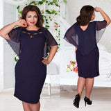 Plus Size Hollow Out Chiffon Short Sleeve Dress