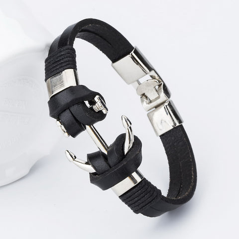 Anchor Charm Leather Bracelet