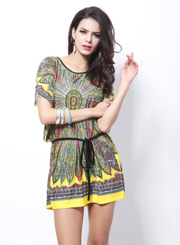 Women Retro Loose Ethnic Print Boho Dress
