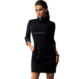 Three Quarter Cotton Solid O-Neck Mini Dress