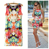 Printed Floral Sexy Slim Casual O-Neck Novelty Dresses