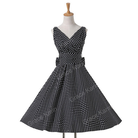 Vintage Retro Polka Dots Summer Dress