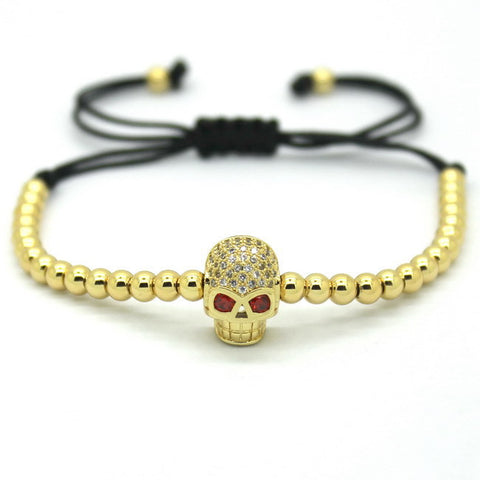 Women Micro Pave Rose Gold CZ Evil Eye Bracelet
