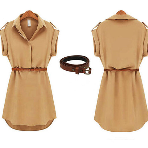 Short A-Line Solid Casual Dress