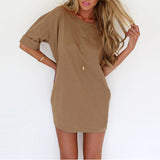 Women's Casual Loose Sexy Short Sleeve Solid Color Mini Dress